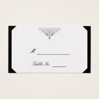 White Black and Silver Damask Wedding Place Cards