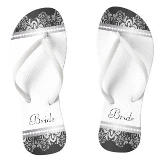 White, Black and Silver Lace | Wedding Party Flip Flops