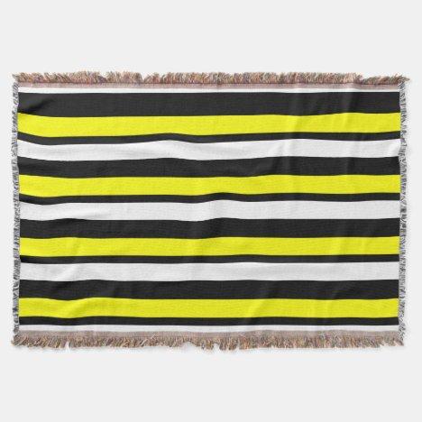White Black and Yellow Striped Throw Blanket