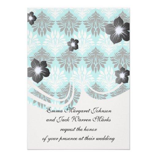 white black aqua trendy damask pattern personalized invites