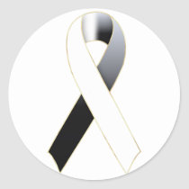 White & Black Awareness Ribbon Stickers