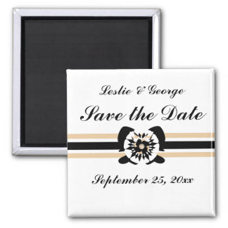 White, black, beige, Floral bow Save the Date 2 Inch Square Magnet