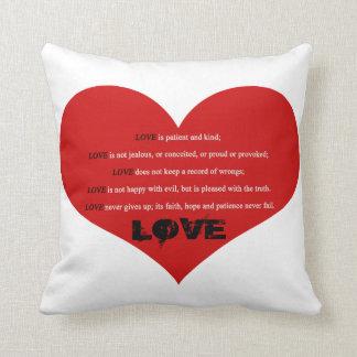 White Black Big Red Heart Love Poem Pillow
