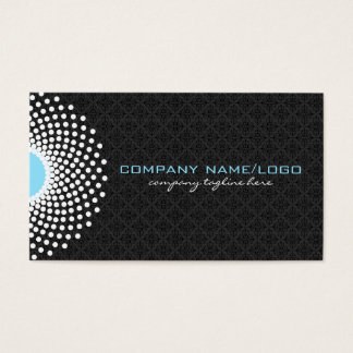 White Black & Blue Ornate Circle & Dots Mandala Business Card