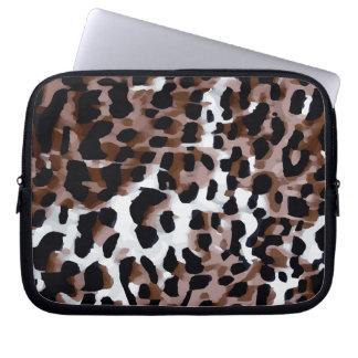 White Black Brown Cheetah Abstract Computer Sleeves