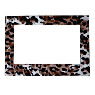 White Black Brown Cheetah Abstract Magnetic Photo Frame