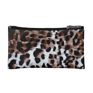 White Black Brown Cheetah Abstract Makeup Bag