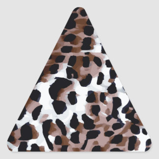 White Black Brown Cheetah Abstract Triangle Sticker