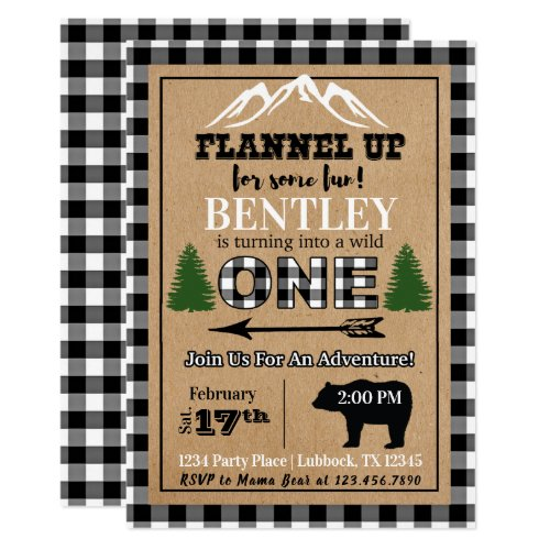 White Black Buffalo Plaid 1st Birthday Invitation