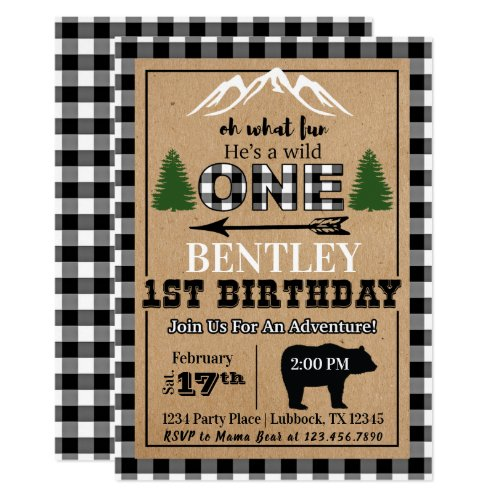White Black Buffalo Plaid Birthday Invitation
