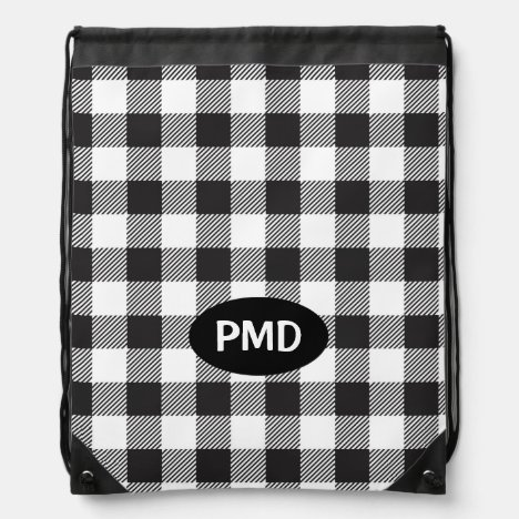 White Black Buffalo Plaid Check Monogram Initials Drawstring Bag