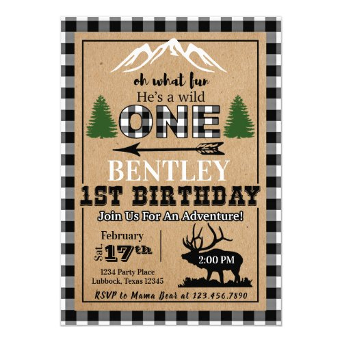 White Black Buffalo Plaid Moose Birthday Invitatio Invitation
