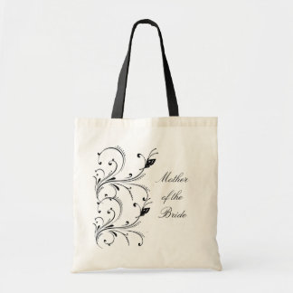 White Black Butterfly Scroll Mother of the Bride B Tote Bag