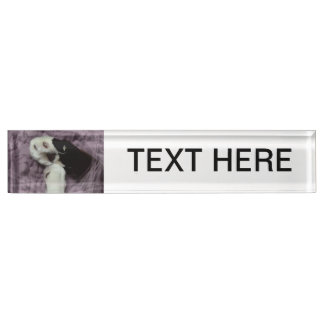 white black cat paws purple back grunge name plate