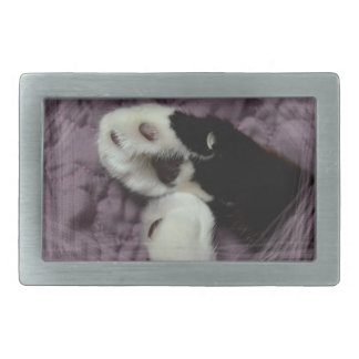 white black cat paws purple back grunge rectangular belt buckle