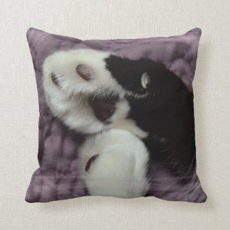 white black cat paws purple back grunge throw pillow