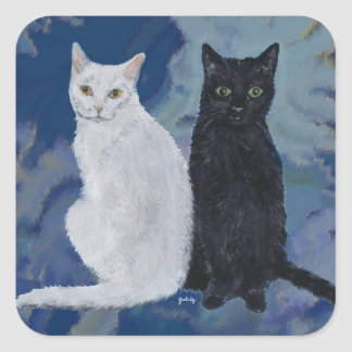 White & Black Cats Square Sticker