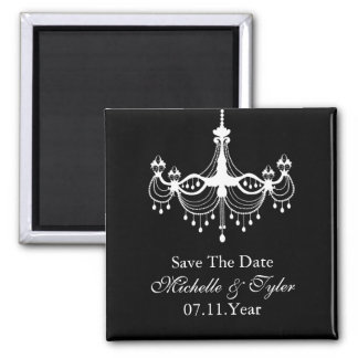 White & Black Chandelier Save The Date Magnet