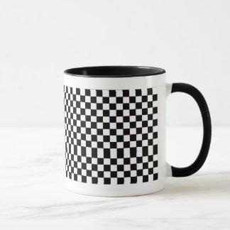 White & Black Checkers Mug