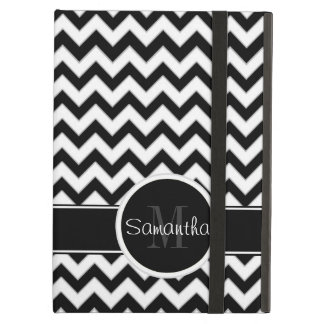 White & Black Chevron Pattern Custom Monogram iPad Air Cover