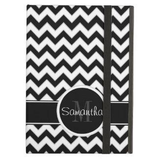 White & Black Chevron Pattern Custom Monogram iPad Air Covers