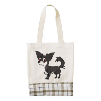 White & Black Chihuahua with Long Hair Zazzle HEART Tote Bag
