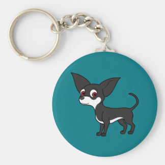 White & Black Chihuahua with Short Hair Keychain
