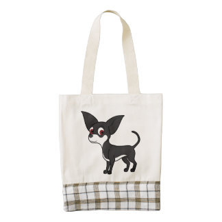White & Black Chihuahua with Short Hair Zazzle HEART Tote Bag