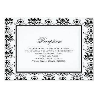 "White & Black Damask Elegant Reception Card 3.5"" X 5"" Invitation Card"