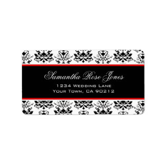 White & Black Damask Red Accent Elegant Address Label