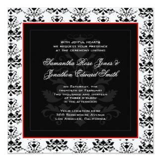 White & Black Damask Red Accent Wedding Invitation