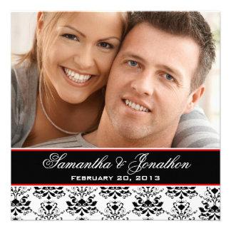 White Black Damask Red Photo Wedding Invitation