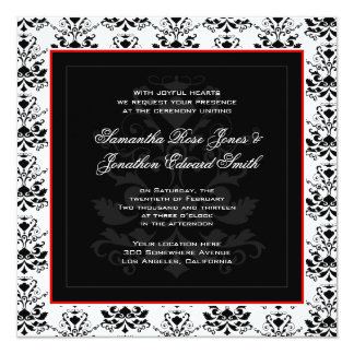 Black White Red Damask Invitations Amp Announcements