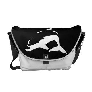white & black dolphins bag, dolphin messenger bag
