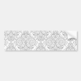White Black Elegant Damask Bumper Sticker