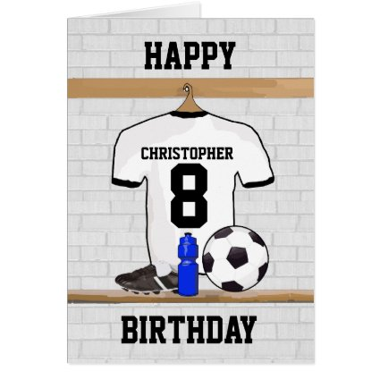 White Black Football Soccer Jersey Happy Birthday Cards