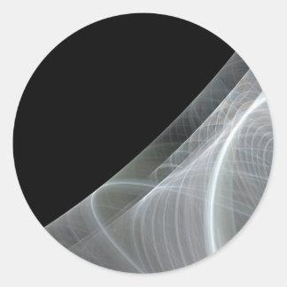 White & Black Fractal BackgroundRound Sticker