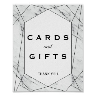 White & Black Geometric Marble Cards & Gifts Sign