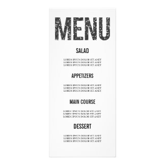 White & Black Glitter Typography Wedding Menu Card Personalized Rack Card