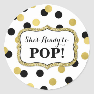 White Black Gold Baby Shower Ready to Pop Classic Round Sticker