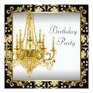 White Black Gold Chandelier Birthday Party Card