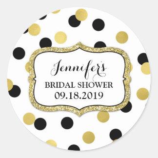 White Black Gold Confetti Bridal Shower Favor Tag
