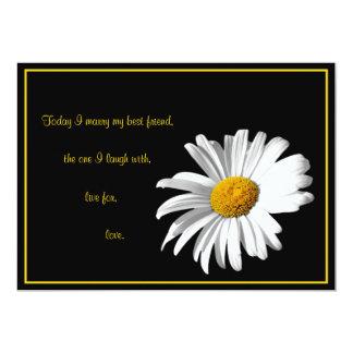 White Black Gold Daisy Wedding Invitation