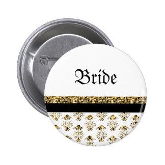 White black gold damask wedding button