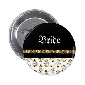 White black gold damask wedding pinback button