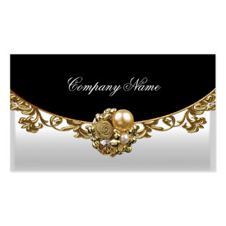 White Black Gold Elegant Boutique Gold Profile Double-Sided Standard Business Cards (Pack Of 100)