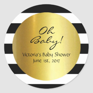 White,Black, Gold Striped Sticker - Personalized