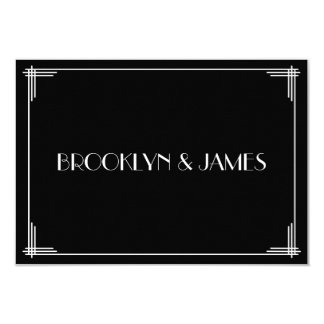 White Black Great Gatsby Art Deco Wedding RSVP Card