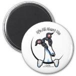 White Black Greyhound IAAM 2 Inch Round Magnet