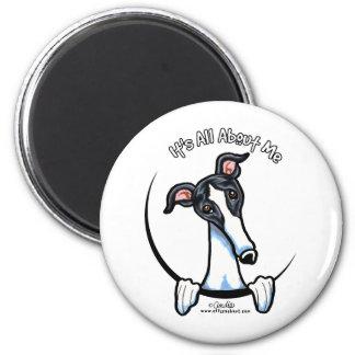 White Black Greyhound IAAM Magnet